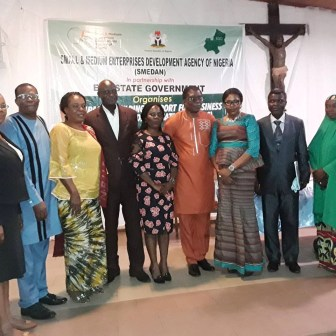 Representative of the DG, SMEDAN Dr. Friday Okpara and members of the High Table